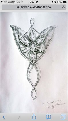 Excellent drawing of the Arwen necklace I want tattooed.