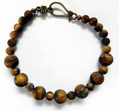 Beautiful Bracelet-Large Earth Tone Jasper Stones by rosaliascharm on Etsy