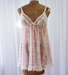 e91d5fc081b Victoria s Secret Sheer Pink Floral Ruffle by Voilavintagelingerie Vintage  Bridal