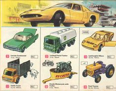 Matchbox Lesney 1969 catalog Page Matchbox regular wheels Lincoln Continental; Honda Motorcycle with Trailer; Vintage Games, Vintage Toys, Type E, Lamborghini Miura, Old School Toys, Corgi Toys, Ford Tractors, Matchbox Cars, Lincoln Continental