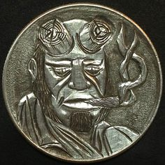CHAD SMITH HOBO HALF DOLLAR - HELLBOY - 1963 FRANKLING HALF DOLLAR Hobo Nickel, Coin Art, Half Dollar, Coin Collecting, Sculpture Art, Buffalo, Cactus, Coins, Carving