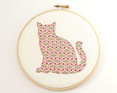 Cross Stitch Pattern PDF Pretty Kitten in by RedGateStitchery