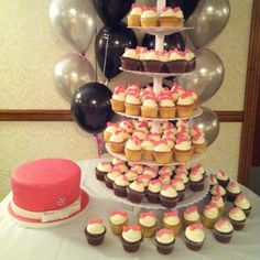 Wedding cupcake tower and cake www.msgoodycupcake.com