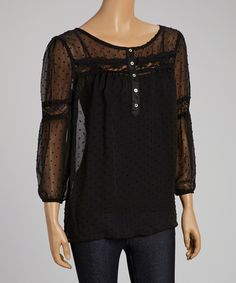 Another great find on #zulily! Peridot Black Swiss Dot Lace-Trim Three-Quarter Sleeve Top by Peridot #zulilyfinds