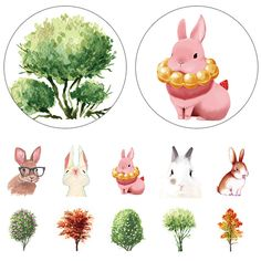 DIY Japanese Paper Washi Tapes Tree Rabbit Masking Tapes Decorative Adhesive Tapes Scrapbook  stickers 15cm*10m Alideco