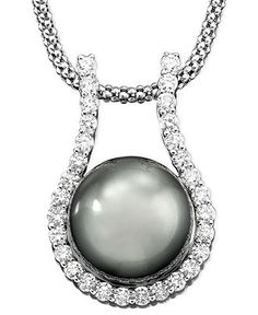 14k White Gold Pendant, Tahitian Pearl & Diamonds (5/8 ct. t.w.) - Pearls - Macy's $2,250