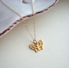 Butterfly Necklace In Gold Butterfly Pendant by AnechkasJewelry, $35.00