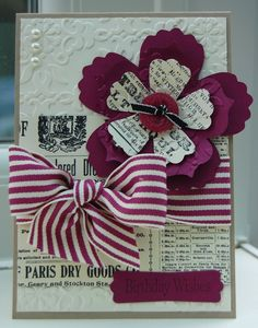 Card Using Rich Razzleberry and Newspaper Print DSP