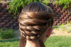 Long brown hair with Basket Weaving @ Princess Piggies - deceivingly SIMPLE!!!  Only takes a few minutes.