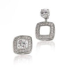 Gottlieb & Sons 14K White Gold Diamond Square Earring Jackets