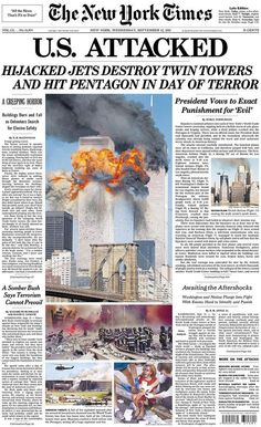 Looking Back: Newspaper Front Pages Covering 9/11 - The New York Times: September 12, 2001
