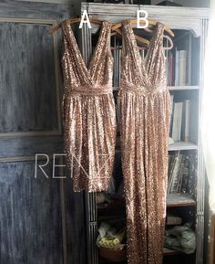 2016 Mix and Match Bridesmaid dress, Rose Gold Sheath Luxury Sequin Evening…