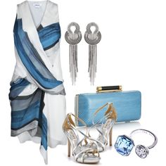 blue & silver by bonnaroosky on Polyvore featuring polyvore, fashion, style, Helmut Lang, Badgley Mischka, Diane Von Furstenberg, Lara Bohinc, Ted Baker, silver heels and silver