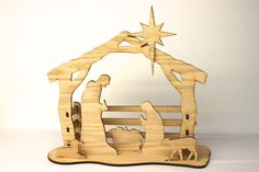 "Add meaning and value to your celebration of Christmas with this 3d nativity kit which includes 15 wooden pieces cut from 1/8"" oak and is ready for your own staining or painting. A simple and beautifu"