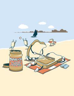 Cute Puns, Funny Puns, Funny Cartoons, Illustration Mignonne, Funny Illustration, Beach Illustration, Art Mignon, Funny Doodles, Humor Grafico