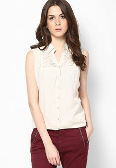 ND Sleeve Less Beige Solid Top (Rs. 1,299/-)