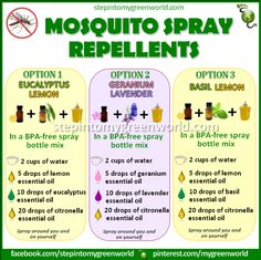 ☛ BY POPULAR DEMAND 3 EASY AMAZING DIY MOSQUITO SPRAY REPELLENTS. FOR ALL THE INFO ON THE MOSQUITO SPRAY REPELLENT RECIPES: http://www.stepintomygreenworld.com/greenliving/mosquito-spray-repellent-recipes/ ✒ Share | Like | Re-pin | Comment