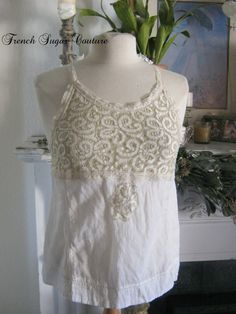 French Sugar Couture - Linen and Lace Collection - Up-Cycled White and Ecru Lace with White Cotton Gauge Tank Top - Altered Couture by frenchsugarcouture on Etsy