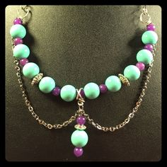 Ch 45 Purple Jadite And Turquoise Color Beads Set