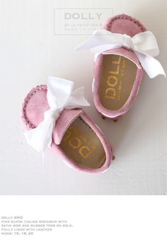 DOLLY by Le Petit Tom ® BABY MOCCASIN & BOW 2MO pink