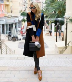 color blocked coat with lace up flats