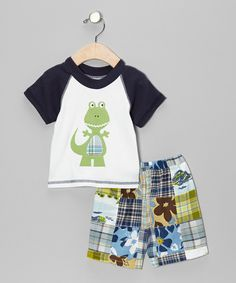 Take a look at this Navy & Green Dinosaur Tee & Shorts - Infant & Toddler on zulily today!