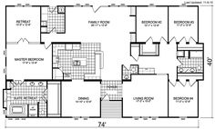 View our small but distinctive selection of Triple Wide floor plans for the latest and greatest in large scale Manufactured Homes. Metal House Plans, Barn House Plans, New House Plans, Dream House Plans, House Floor Plans, Dream Houses, Barn Plans, Metal Building Homes, Metal Homes
