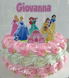 Great Princess Birthday Party Ideas for 6 year-olds Disney Cake Toppers, Princess Cupcake Toppers, Princess Cupcakes, Easy Princess Cake, Disney Princess Birthday Cakes, Barbie Birthday, Birthday Cake Girls, Bolo Barbie, Barbie Cake