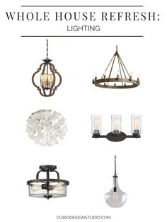 After paint, lighting is our favorite way to brighten a space and to update the overall look of your house with cohesion AND without breaking the bank. Check out the fixtures we chose to accompany our Whole House Refresh… Home Lighting Design, Gorgeous Glass, House Lighting Fixtures, Kitchen Pendants, Traditional Interior Design, Lighting, House, Geometric Chandelier, Circular Chandelier