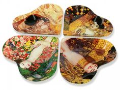 Sklenená tácka 4 dielna Gustav Klimt