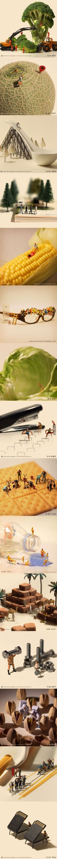 Miniature Calendar by Tanaka Tatsuya. I love mini art Miniature Calendar, Art Plastique, Little People, Oeuvre D'art, Belle Photo, Best Funny Pictures, Amazing Art, Awesome, Creative Art