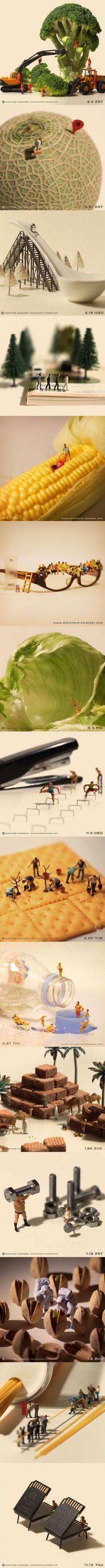 immagine di Pinterest, foto scattate, vari cibi e oggetti. Quest'immagine mi ha colpito per la creatività e le varie situazioni rappresentate.