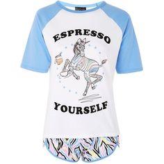 Topshop 'Espresso Yourself' Slogan Pyjama Set (180 HRK) ❤ liked on Polyvore featuring intimates, sleepwear, pajamas, blue, short pjs, cotton pyjamas, short pajamas, unicorn pyjamas and blue pajamas