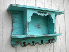 Organizer wall shelf primitive country cottage hooks aqua, via Etsy.