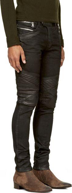 Balmain: Black Coated Biker Jeans   SSENSE