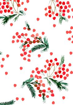 Winter inspired design with green for sprigs and red berries on white ground in water color. Illustration Inspiration, Illustration Noel, Winter Illustration, Illustrations, Christmas Illustration Design, Noel Christmas, Christmas Design, Winter Christmas, Christmas Crafts