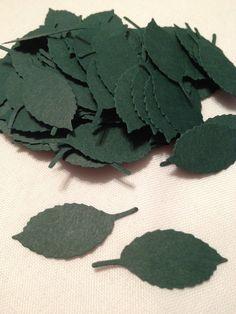 72 Dark Green Leaves Die Cuts by MonAmiePaperie on Etsy, $2.44