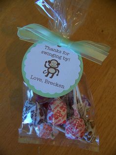 cellaphane candy bag with tag  Monkey Shower Party Favor Bag
