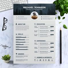 Modern Resume Template / CV Template  Cover Letter | Professional and Creative Resume | Teacher Resume | Word Resume | Instant Download Graphic Designer Resume Template, Graphic Design Resume, Modern Resume Template, Cv Design Template, Creative Cv Template, Resume Template Free, Infographic Resume Template, Cv Web, Cv Curriculum