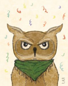 Party Animal Owl/ Hand drawn 8x10 digital by SugarPixelsDesign
