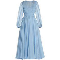 Dolce & Gabbana Gathered silk-chiffon dress (£3,055) ❤ liked on Polyvore featuring dresses, dolce & gabbana, long dresses, light blue, pleated midi dress, long blue dress, long-sleeve midi dresses, ruched dress and long pleated dress