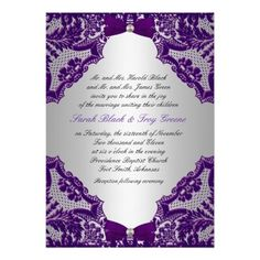 Purple and Silver Wedding Invitation! could do any color but love the lace!