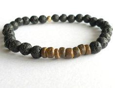 Mens Coconut Wood Bracelet with Black Lava by theblackstarboutique, $40.00
