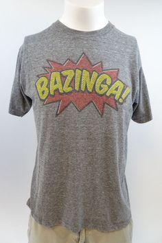 Big Bang Theory Bazinga T-shirt Large Gray A325 #Theory #GraphicTee