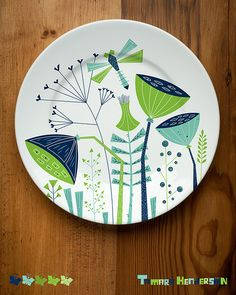 Our class assignment this week for class was to create a plate design for a client in mind like Crate & Barrel, West Elm & Anthrop. China Painting, Ceramic Painting, Ceramic Art, Ceramic Plates, Ceramic Pottery, Decorative Plates, Pottery Painting Designs, Paint Designs, Plates And Bowls