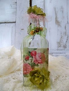 Decorated art recycled glass bottle shabby chic  roses rhinestones collectible home decor Anita Spero. Etsy.