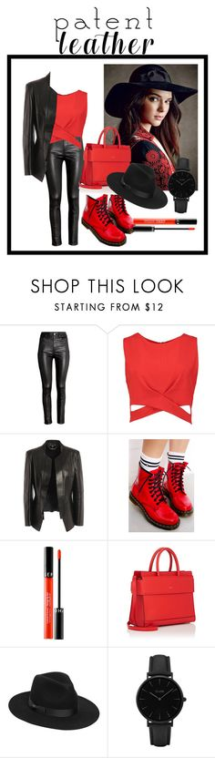 """""""the devil in red🔥"""" by namelesskay ❤ liked on Polyvore featuring H&M, Boohoo, Alexander McQueen, Dr. Martens, Sephora Collection, Givenchy, Lack of Color, CLUSE and Leather"""