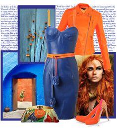 """BLUE LEATHER DRESS"" by bodangela ❤ liked on Polyvore"