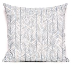 Alix Rockpool Cushion, is a simple hand-drawn interpretation of a chevron.  It is a tonal print in colour Rockpool printed on a natural background, on our beautiful linen/poly blend fabric.
