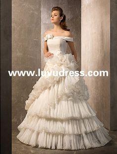 A-line/Princess Off-the-shoulder Floor-length Organza And Taffeta 2015 Wedding Dress
